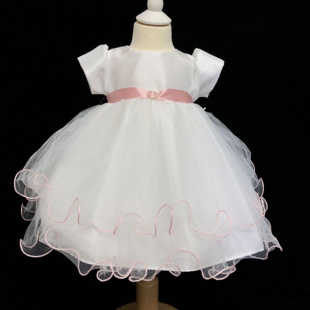 Stunning Baby Girl White with Pink Sash Occasion Tutu Dress Diamante Buckle